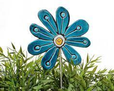 abstract flower garden decor ceramic lawn ornament