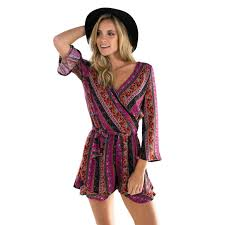 hippie jumpsuit purple geometric boho hippie v neck sleeves s