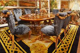 Genuine Leather Dining Room Chairs by French Rococo Design Golden Round Dining Room Table With Genuine