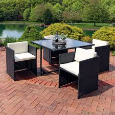 Outdoor Table Ls Sunnydaze Miliani Patio Dining Set 5 Rattan