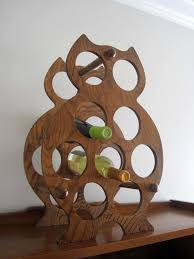 vintage retro owl shaped wood wine rack cool wine racks