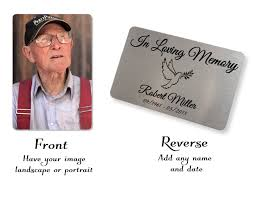 in memory of gifts personalised personalised aluminium in memory of remembrance credit card size