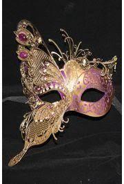 italian masquerade masks purple venetian masquerade mask w gold metal laser cut and crystals