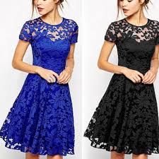 blue lace dress women floral lace dress sleeve summer casual mini