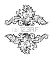 35857739 vintage baroque frame scroll ornament engraving border