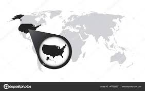 america map zoom world map with zoom on usa america map in loupe vector