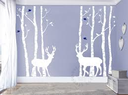 birch tree wall decals birch forest and deer wall murals giant zoom