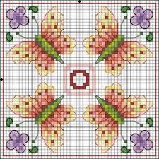 cross stitch four black winged butterflies pattern design chart