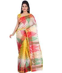 dhakai jamdani multi colour handloom tant silk dhakai jamdani saree dhakai jamdani