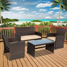 Outdoor Porch Furniture by Amazon Com Best Choice Products 4pc Wicker Outdoor Patio