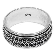 silver hand rings images Hand made sterling silver balinese meditation spinner ring jpg