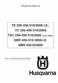 husqvarna workshop service manual 2008 te 250 te 450 te 510