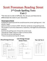 2nd grade scott foresman reading street unit 2 spelling tests with
