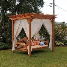 patio swing bed with canopy with outdoor wooden pergola and white