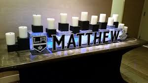 themed candles hockey themed candle lighting display for a bar mitzvah custom
