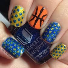 golden state warriors basketball nail art featuring literary