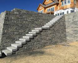 Retaining Wall Stairs Design Large Stair Construction Premier Lawn And Landscape Design