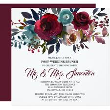 wedding brunch invitation burgundy floral post wedding brunch invitation zazzle