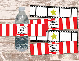movie themed wedding ideas printable pdf hollywood movie party theme water bottle label