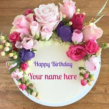 Happy Birthday Floral Art Creative Round Cake With Name