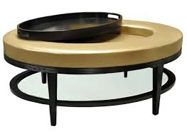 round black wooden frame ottoman coffee table with gold leather
