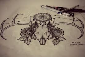 deer skull tattoo design by shelly for sun on deviantart
