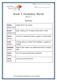 grade 3 vocabulary worksheets week 1 lets share knowledge