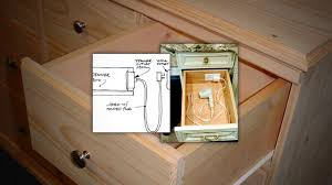 Install An Outlet In A Drawer For Convenient Gadget Charging - Bathroom vanity light with outlet