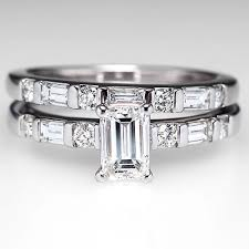 emerald cut wedding band emerald cut engagement ring with vertical baguette