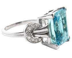 art deco aquamarine and diamond ring c1925 241940