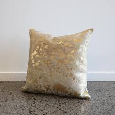 Metallic Cowhide Pillow Metallic Gold Cowhide Cushion With Feather Inner