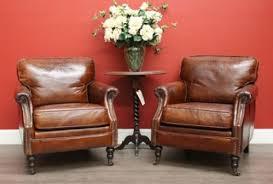 Vintage Brown Leather Chair 5383 Set Of 2 Pair Of Vintage Brown Leather Lounge Armchairs