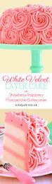 white velvet layer cake with strawberry raspberry mascarpone