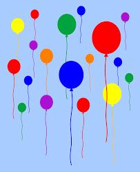 rainbow balloons flying in sky free clip art