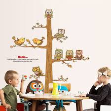 brown tree wall decal owls and birds home decor kids wall sticker