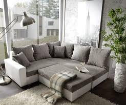 sofa grau weiãÿ lavello grau weiss 210x210 ottomane rechts mit hocker