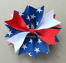 white and blue bows 4th of july hair bow hair bow white and blue spike