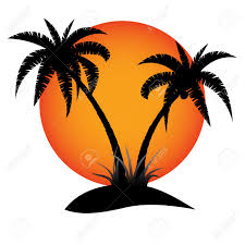palm trees silhouette with sun on tropical island royalty free