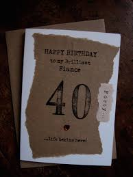 fiance 30th 40th 50th 60th birthday card hand stamped