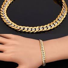 men gold tone bracelet images Men two tone gold chain platinum 18k gold plated cuban curb jpg