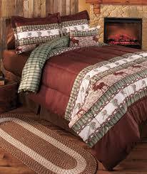 Rustic Bedroom Bedding - moose lodge comforter set queen country cabin bedroom bedding w