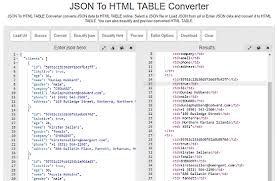 convert json to html table convert json to html table online with these 5 free websites