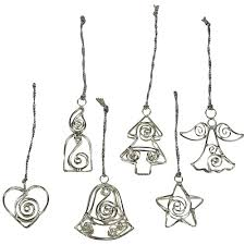 set of 6 silver wire ornaments from india fair trade handmade