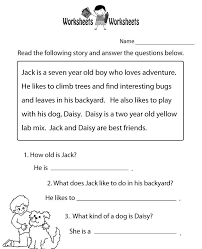 free printable worksheets for first grade reading comprehension