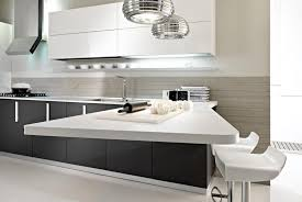 white ultra modern kitchen with glaze and unique triangel island