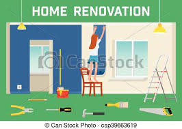 home interior vector vector clip of room repair in home interior renovation in