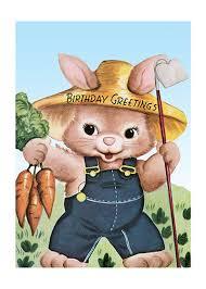 rabbit birthday farmer rabbit birthday card birthday greeting cards