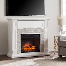 stratford white faux stone infrared electric media fireplace