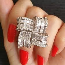 women big rings images Square petals design big rings for women all shinning aaa zircon jpg