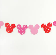 Mickey Mouse Flag Minnie Mouse Pink Red Bunting Birthday Party Polka Dots Flag